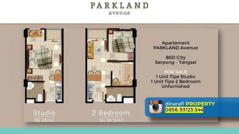 jual apartement unfurnished parkland avenue studio 2 bedroom bsd city serpong tgr dinarafi property